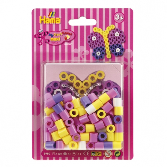 pack blister mariposa (100 piezas y placa pegboard) hama beads maxi