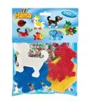 pack de inicio elefante, loro, perro (3000 piezas y 4 placas pegboards) hama beads midi