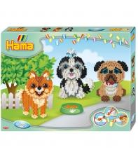 pack de inicio cachorros (4000 piezas y 3 placas pegboards) hama beads midi