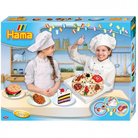 pack de inicio cocina creativa (4000 piezas y 2 placas pegboards) hama beads midi