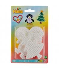 blister 3 placas pegboards (árbol de navidad, pingüino y corazón pequeñas) para hama beads midi