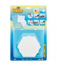 blíster 2 placas pegboards y bead-tac (cuadrada y  hexagonal conectables) para hama beads midi