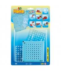blíster 3 placas pegboards cuadradas pequeñas y bead-tac hama beads maxi
