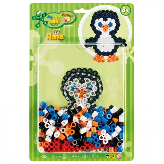 pack blister pingüino (250 piezas y placa pegboard) hama beads maxi