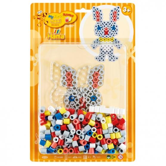 pack blister conejo (250 piezas y placa pegboard) hama beads maxi