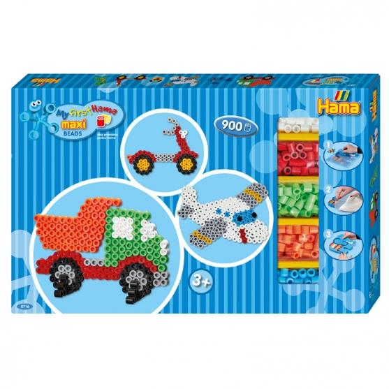 pack de inicio avión y camión (900 piezas, 4 soportes y 2 placas pegboards) hama beads maxi